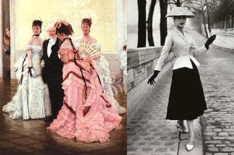 Diferença entre as silhuetas de 1870, com saia estreita e anquinhas e a do New Look de Dior, com saia ampla