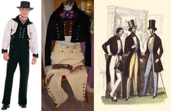 À esquerda e ao centro, exemplos de trajes típicos noruegueses. À direita, esboço de moda masculina datado de 1840.