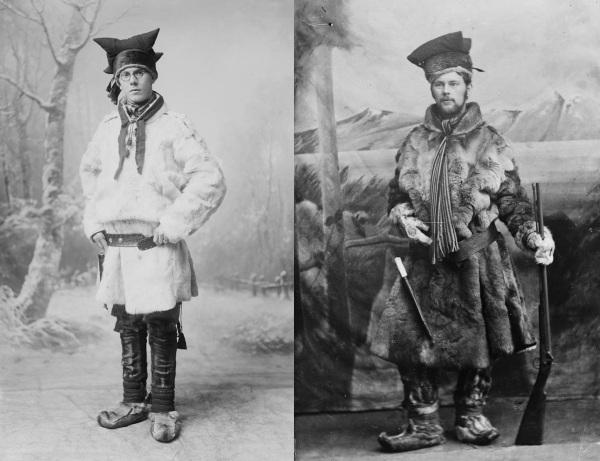Exemplos de trajes tradicionais dos homens lapões.