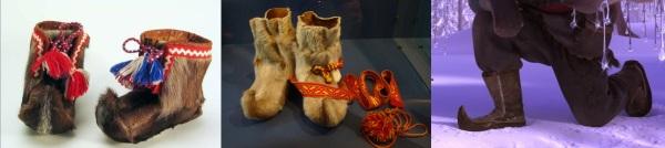 À esquerda e centro, botas laponas. À direita, as de Kristoff.