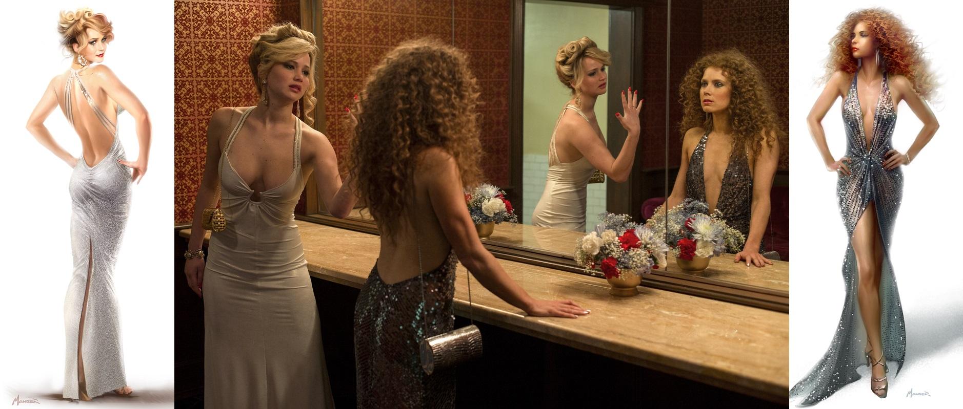Vestidos de Rosalyn e Sydney que se destacam no filme e seus respectivos croquis.