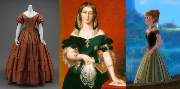 À esquerda, exemplo de vestido da década de 1840. Ao centro, vestimenta da realeza do mesmo período, em retrato da jovem Vitória, rainha do Reino Unido. À direita, vestido de Anna, que utiliza elementos da época de forma estilizada.