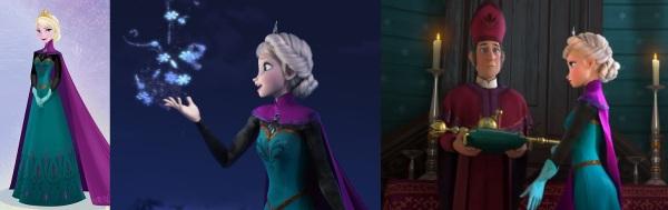 Arte conceitual e modelo final de Elsa com o vestido da coroação.