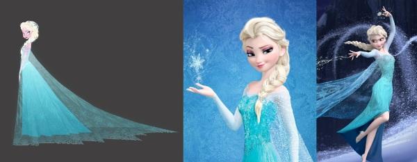Arte conceitual e modelo final de Elsa com vestido utilizado posteriormente.
