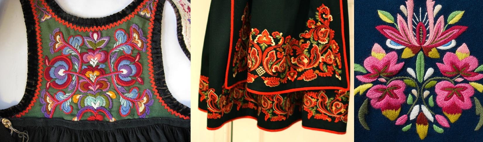 Exemplos de bordados encontrados em vestimentas tradicionais.
