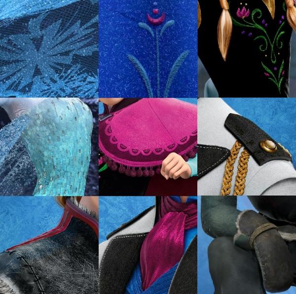 Tule, lã, cristal, couro, pele, cetim, bem como bordados, costuras e apliques: a qualidade das texturas em Frozen. (Clique para ampliar)