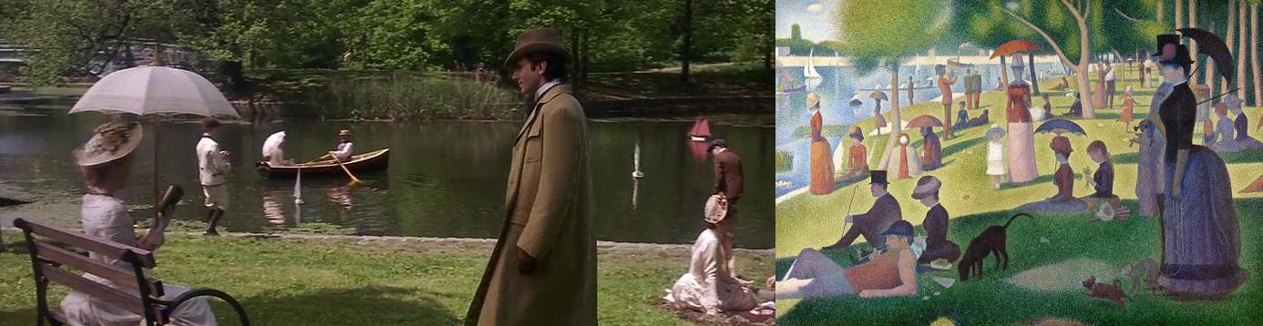 Cena ao ar livre comparada com quadro pós-impressionista Tarde de Domingo na Ilha de Grande Jatte, de George Seurat