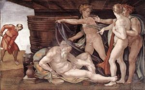 A Bebedeira de Noé (1508-1812), afresco de Michelangelo